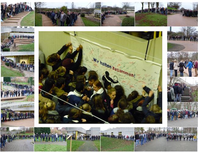 Menschenkette am Anti-Mobbing-Tag